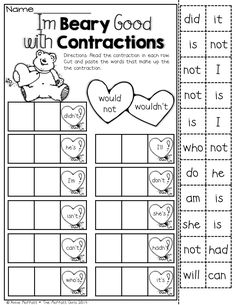 I'm Beary Good with Contractions- Hands-on FUN and effective ways to teach in the NO PREP Packet for February! 2nd Grade Ela, 1st Grade Writing, First Grade Reading, Teaching Writing, Student Teaching, Grade 1, Second Grade, Classroom Language, Classroom Fun