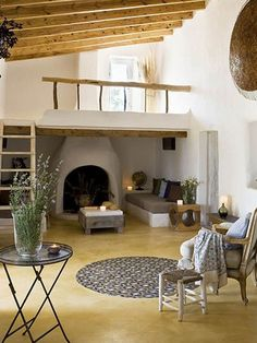 Really love the atmosphere of this room. Fireplace Nook in a Rustic Vacation House on the Island of Formentera Color Palette For Home, Home Interior, Interior Design, Spanish Interior, Interior Door, Modern Interior, Casa Loft, Earth Homes, Natural Building