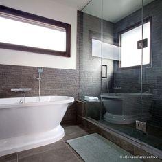 spa-like modern bathroom design. Modern Bathroom Design, Corner Bathtub, Spa, Photoshoot, Interiors, Landscape, Creative, Photography, Scenery