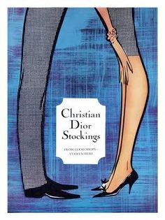 Christian Dior stockings, 1960s. Illustration by Rene Gruau.