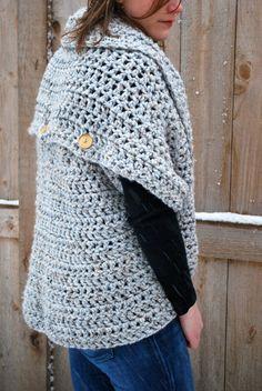 Knit Cardigan Sweater - Oversized Chunky Cowl Scarf - Shrug - Infinity Scarf