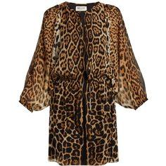Saint Laurent Leopard-print georgette dress ($2,690) ❤ liked on Polyvore featuring dresses, animals, mini dress, long-sleeve mini dress, brown party dress, brown dresses and long brown dress