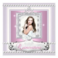 Quinceanera 15th Birthday Party Pink White Tiara Personalized Invitation