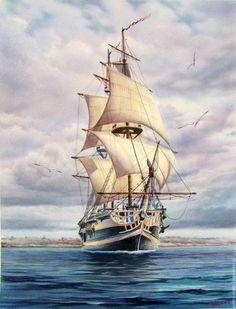 """Aquarell """"Brig"""". Verfasser - Anton Smirnov #Anton #Aquarell #quotBrigquot #Smirnov #Verfasser Sea Storm, Old Sailing Ships, Ship Drawing, Ship Paintings, Boat Painting, Tug Boats, Ship Art, Tall Ships, Ancient Art"""