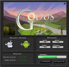 Today I would to like show to you Godus Hack. This is a great tool you will be generate a gems, wheat, belief and followers. Check it by download the cheat. You do not have to spend their their real money.  http://wazzupgames.com/godus-hack-hack-ios-download/