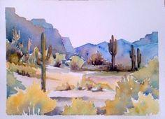 Sonoran Desert Landscape. Watercolor. Andrea Merican, AZ artist Watercolor Landscape Paintings, Watercolor Cactus, Watercolour Painting, Watercolor Ideas, Desert Dream, Desert Art, Desert Mountains, Painting Inspiration, Beautiful Pictures