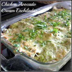 Healthy Chicken Avocado Cream Enchiladas