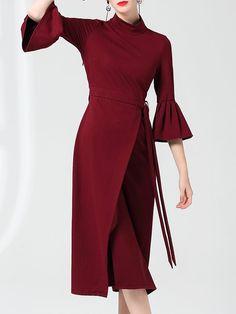 Bell Sleeve Elegant Sheath Midi Dress - StyleWe.com