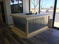 The L Shaped Counter - x foot corrugated metal bar, sales counter, reception desk, unfinished by BuyfooBARS on Etsy Bar Patio, Outdoor Patio Bar, Backyard Bar, Deck Bar, Outdoor Kitchen Bars, Shabby Chic Rustique, Style Rustique, Vivre A Miami, Florida Keys