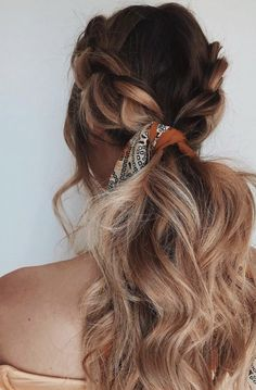 #balayage double french braids into low ponytail bandana | hair ideas