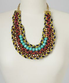 Another great find on #zulily! Red & Turquoise Beaded Bib Necklace #zulilyfinds