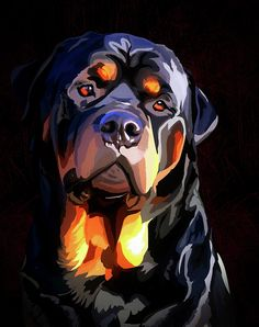 Rottweiler 2 by Alexey Bazhan Rottweiler Facts, Rottweiler Mix, Pop Art, Desenho Tattoo, Arte Pop, Dog Paintings, Wildlife Art, Dog Portraits, Painting Inspiration