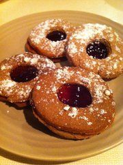 Linzer Tarts filled with raspberry preserves. #pastry