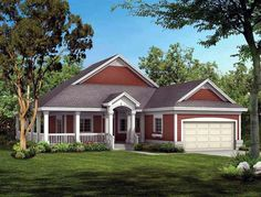 Wrap-Around Porch and Vaulted Great Room Highlight This Empty-Nester House Plan Country Style House Plans, Country Style Homes, Southern Style, Cottage Style, Country Houses, Ranch House Plans, House Floor Plans, Pass Through Window, Monster House Plans