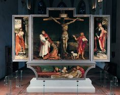 Matthias Grünewald, Isenheim Altarpiece (1510-15), position #1 (closed) crucifixion with lamentation predella
