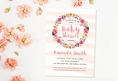 Floral baby shower invite - Unique Baby Shower Invitation - Boho Invitations - Watercolour Baby Shower Invitation - Watercolor Wreath by ClipArtForYou on Etsy https://www.etsy.com/listing/263565482/floral-baby-shower-invite-unique-baby