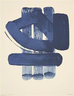 Blue moves in Pierre Soulages Lithographie No. 37, 1974.