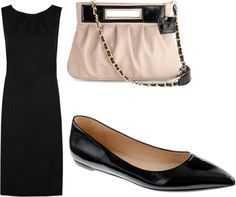 Need the figure to wear this look when I return to work: Black shift dress with simple flats