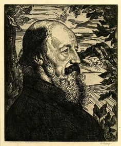 """Portrait of Lord Tennyson,"" etching, by the Scottish-born artist William Strang. 303 mm x 250 mm.  British Museum, London. Date	1896"