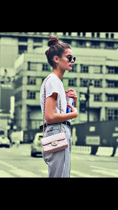 Minimalistic outfit- White tee with stripe pants. Similar style available at SiiZU.