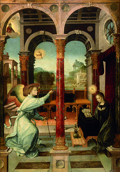 circa 1508.Alejo Fernández (1475-1545) The Annunciation.painting on panel.72×49.5 cm (28.3×19.5 in) Museum of Fine Arts of Seville.