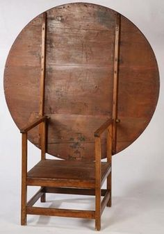 Furniture: Table-Chair; Pine & Ash, Round Top, Square Legs, Box Stretcher.