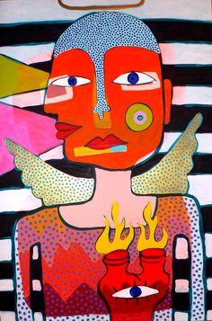 Visionary Guardian Angel Original Outsider folk pop art brut painting by STUCKY