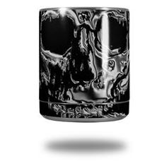 Chrome Skull on Black - Decal Style Skin Wrap fits Yeti Rambler Lowball (YETI NOT INCLUDED)