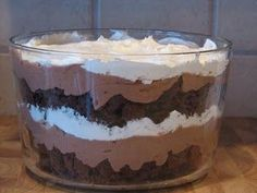 Chocolate Brownie Triffle. Made this for Christmas and there was nothing left but the bowl