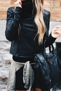 leather jacket. fall style.