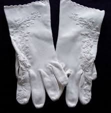 antique linen gloves