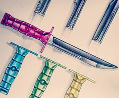 Finished up the bayonets  just pumped the highlights and gave it a bit of a contoured drop shadow to make it pop a little more... #doodle #poodle #drawing #sketching #artsy #army #weapon #knifes #blades #colours #colourful #fun #dope #design #designer #industrialdesign #copic #concept #oldschool #vibrant #fresh #pink #green #blue by samcvsinger