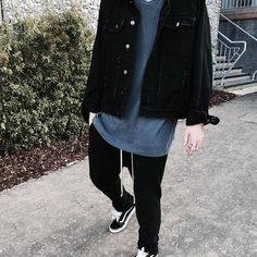 Follow @outfitsociety   Drop your comments below #BestOfStreetwear Outfit by @kxrbtz ✅ Jacket - Mnml.la Tee - American Apparel Pants - Rick Owens Shoes - Vans