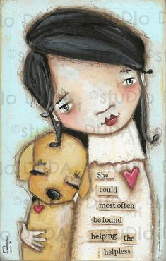 Original Folk Art Mixed Media Whimsical Painting on Wood for Girls - The Helper -sold