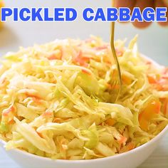 This light and healthy pickled cabbage recipe is mildly acidic and full of flavor. The cabbage will soften slightly, but retain the crunch that will add texture to any meal. There are so many ways to Pickled Cabbage, Cabbage Salad, Healthy Salad Recipes, Vegan Recipes, Cooked Cabbage Recipes, Vegan Fast Food, Fermented Foods, Canning Recipes, Vegetable Recipes