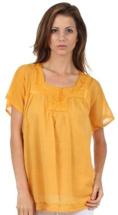 3846ff22efcee Sakkas Square Neck Button Detail Semi-Sheer Gauzy Cotton Blouse. Lace for  Style · Toppy Tops