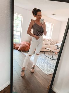 Houston fashion blogger Maria Munoz shares a casual yet chic white denim look from Abercrombie & Fitch #momstyle #styleinspiration #fashionoutfits #abercrombie #summerfashion #summeroutfits
