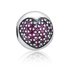 Purple Heart Shape Clip Lock Charm 925 Silver Pandora Compatible