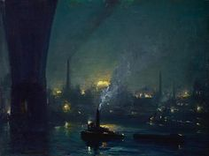 """Night, East River, New York"" By Johann Berthelsen"