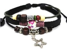 Beaded Three Strand Zen Leather Bracelet, with Metallic Star Charm, Colorful Wooden Beads, Metal Spacers, Flowered Print Pandora Bead at Center and Light Magenta Hemp wrap. Adjustable for Men, Women and Teens . (Foil Gift Box Included) . $18.95. Great Looking Bracelet Is Fully Adjustable. Fits wrists 4 1/2 to 9 inch. Arrives in Foil Gift Box with Bow. Fashionable Hip California Surfer Styling for Men and Women, Teens, Boys & Girls. Embellished with Metallic Sta...