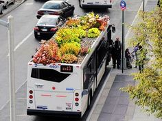 Bus Roots, a green roof system designed for buses by Marco Castro Cosio. Ethereally speaking, it grounds the urban, metallic inflexible atmosphere of modern transport with the essence of nature. Logically speaking: it's a green roof for a bus Urban Agriculture, Urban Farming, Urban Gardening, Container Gardening, Container Houses, Organic Gardening, Landscape Design, Garden Design, Green Roof System