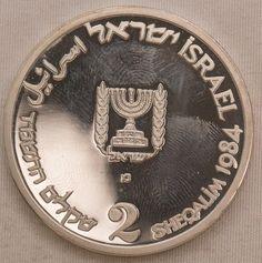 Numismática ISRAEL 1984 2 Sheqalim moeda de prata PRO..