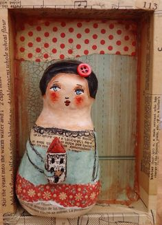 She lived in a little house... #2..( #1 had a sad demise.. Eaten by my puppy! ) cloth, paper sculpture in a box