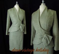 Vtg 40s 50s Wool LILLI ANN Wiggle Suit