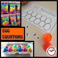 Egg-cellent practice for basic math facts. First Grade Lessons, First Grade Math, Math Lessons, Second Grade, Teaching Kindergarten, Teaching Resources, Teaching Ideas, Classroom Activities, Easter Activities