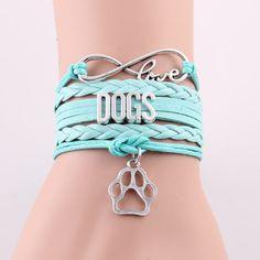 Infinity Love Dogs Paw Charm Bracelet