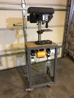 Metal Rotating Tool Stand : 6 Steps (with Pictures) - Instructables Drill Press Stand, Tool Stand, Welding Cart, Welding Table, Workshop Storage, Home Workshop, Woodworking Basics, Woodworking Workshop, Metal Projects