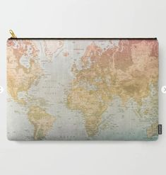 world map carry-all pouch, makeup bag, small pouch, world map, cosmetic bag, pencil bag, gift for girls, gift for her, gift ideas, small bag Gifts For Girls, Gifts For Her, Pencil Bags, Organize Your Life, Travel Gifts, Small Bags, Cosmetic Bag, Carry On, Vintage World Maps