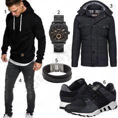 Schwarzer Herren Style mit Hoodie und Adidas Schuhen (m0770