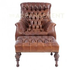 Leather Lounger Chair and Ottoman  Tufted distressed leather in the perfect shade of warm chocolate. This handcrafted piece holds you like a glove. Incredibly comfortable and elegantly rustic.